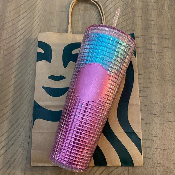 🆕 Starbucks 2021 Blue/Pink Grid Tumbler
